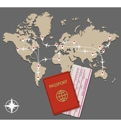 map jet routes passport vector image