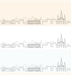New orleans hand drawn skyline vector