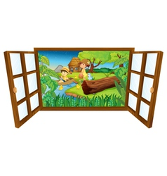 Open barn windown vector image