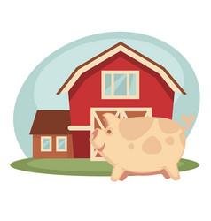 Pig standing on farm vector