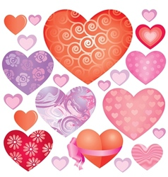 Pink hearts set vector