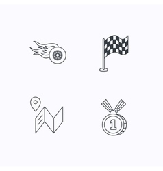 Race flag map and winner award icons vector