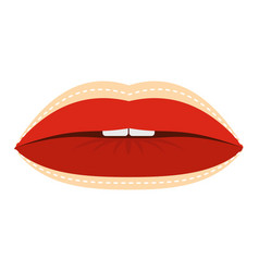 Red lips with lines drawn around it icon isolated vector