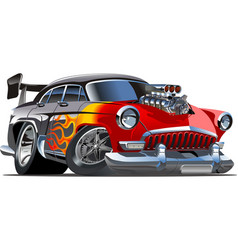Retro cartoon hotrod vector