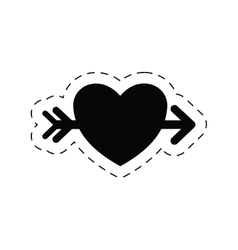 romantic heart love arrow pictogram vector image