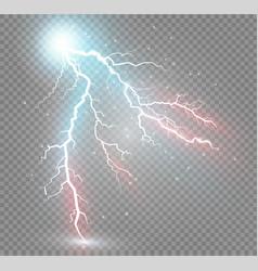 Set of lightnings magic and bright lighting vector