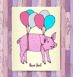 Sketch pig flying with baloons vector