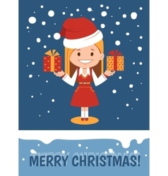 Template of merry christmas card vector