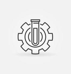 Test tube in gear icon vector