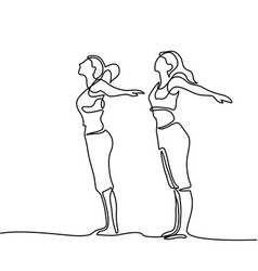 Two women doing exercise in yoga pose vector