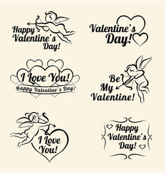 Valentines day vintage card templates of banners vector