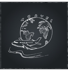 World travel symbol airplane and globe sketches vector