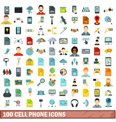 100 cell phone icons set flat style vector