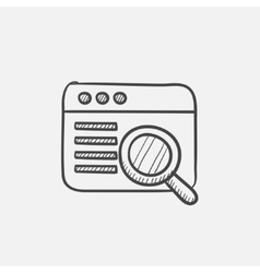 Browser window with magnifying glass sketch icon vector