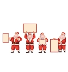 Set of santa claus holding a blank board vector