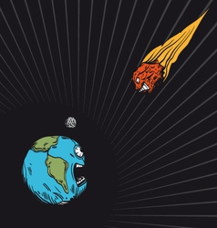Meteor falls to the earth vector