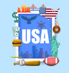 collection of icons of the united states america vector image