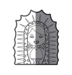 Grayscale silhouette of half canvas of virgin of vector