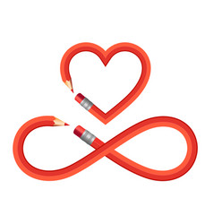 Pencil heart and infinity sign set pencil heart vector
