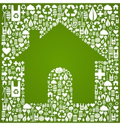 Green house over eco icons background vector