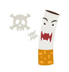 Cigarette with a smoke formed skull dead vector