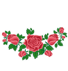 Red roses in cartoon style vector