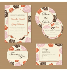 wedding set with roses vector image
