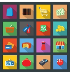 Market flat icons set vector