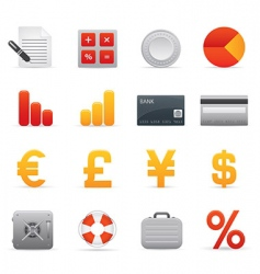 Finance icons  red vector