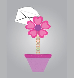 Letter with flowers in pot vector