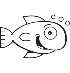 Cartoon smiling goldfish vector