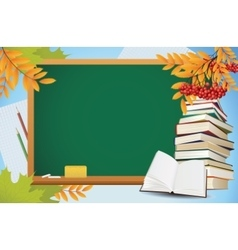 school autumn background with blackboard books vector image