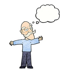Cartoon old man spreading arms wide with thought vector