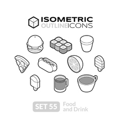 Isometric outline icons set 55 vector