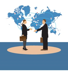 Two businessmen man and woman handshake vector