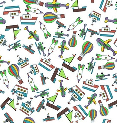 Colorful ships and aircrafts transports seamless vector