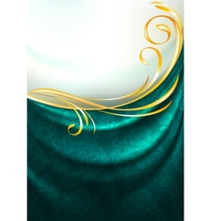 Dark emerald fabric curtain vector