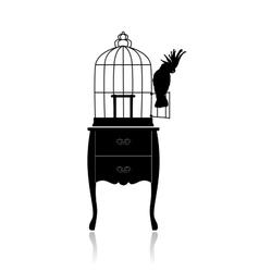 Birdcage and parrot vector