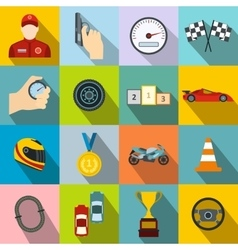 Car racing flat icons vector