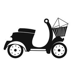 Delivery scooter black simple icon vector image
