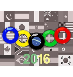 Olympics rings on sepia flags background vector