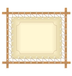 Wooden frame hanging on crude rope vector