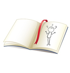 A notebook with a drawing of a girl and a red vector image
