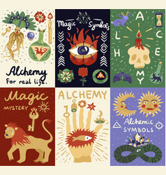Alchemy magic cards vector