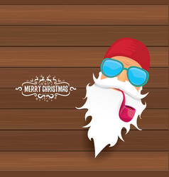 Bad rock n roll dj santa claus with smoking vector