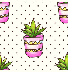 Cactus and succulents seamless pattern woth polka vector