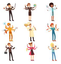 Cartoon flat multitasking characters set men and vector