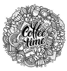 Coffee doodle design vector