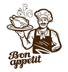 cooking logo chicken turkey duck icon vector image vector image