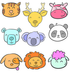 doodle of head animal design colorful vector image vector image